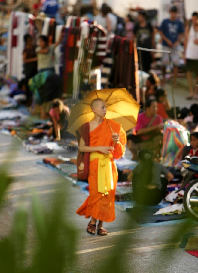 Monk in Laos market