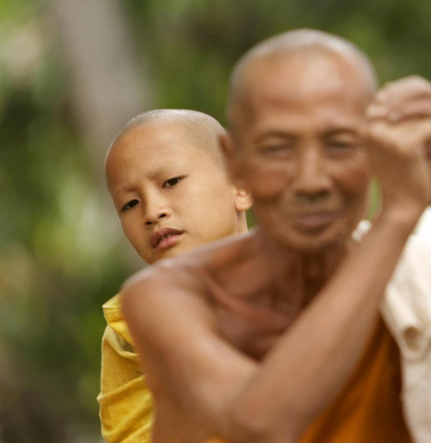 Peeping boy monk