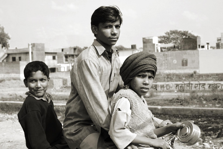 Indian boys on bike