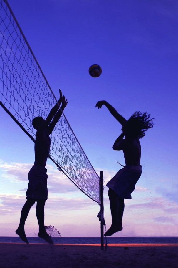 Volleyball players in Silhouette