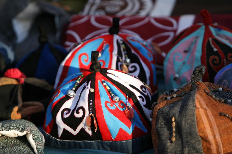 Street market hats Laos