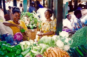 Colourful vendors at Nakasero market